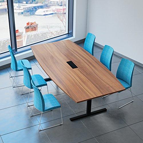 Easy Konferenztisch Bootsform 240x120 cm Nussbaum mit Elektrifizierung Besprechungstisch Tisch, Gestellfarbe:Schwarz