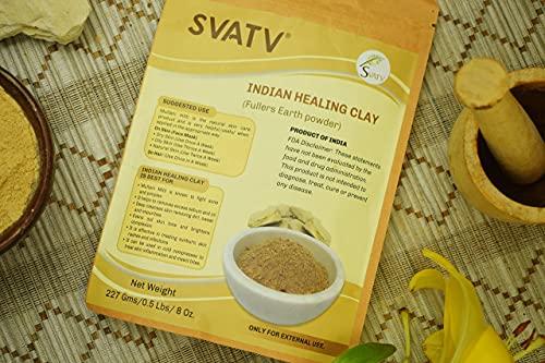 SVATV Indian Healing Clay II Natürliches Multani Mitti II Fuller-Erdpulver II für die Haar- und Hautpflege II 227g , 0.5 lb , 08 oz
