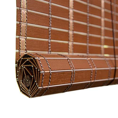 Jcnfa-Persianas Persiana De Bambú Imitación PVC Cortina Persiana Enrollable For Exterior Tratamiento De Barniz Antimoldes Impermeable (Color : Rosewood, Size : W 85*H 100cm)