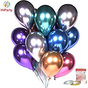 [Upgraded Metallic Balloons KIT] HiParty 60pcs Metallic Party Balloons, 3D Premium Thick Chrome Latex Birthday Balloons with accessories for Wedding Christmas and almost Party Decorations (6 Colors)