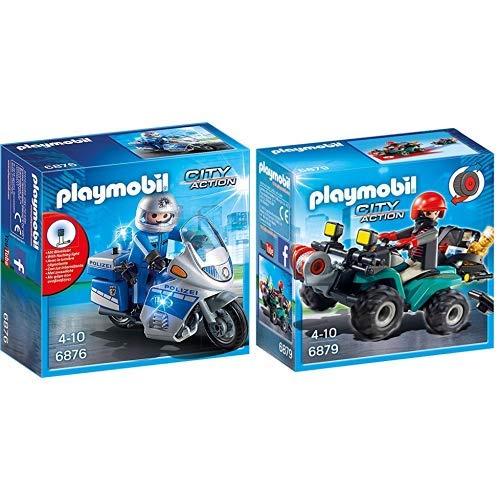 PLAYMOBIL 6876 - Motorradstreife mit LED-Blinklicht & 6879 - Ganoven-Quad mit Seilwinde