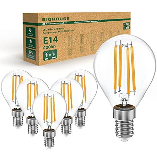 BIGHOUSE E14 LED Warmweiss, P45 Tropfenform Lampen, 4W Ersetzt 35W Halogenlampen, 2700K Warmweiß, 400 Lumen, 360° Abstrahlwinkel, E14 LED Filament Birne, Klar, Glas Vintage Glühbirne, 6 Stück