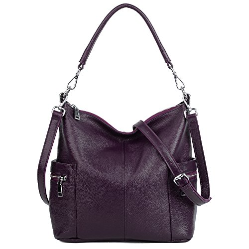 YALUXE Women's Multi Pocket Soft Cowhide Leather Medium Purse Style Shoulder Bag Purple