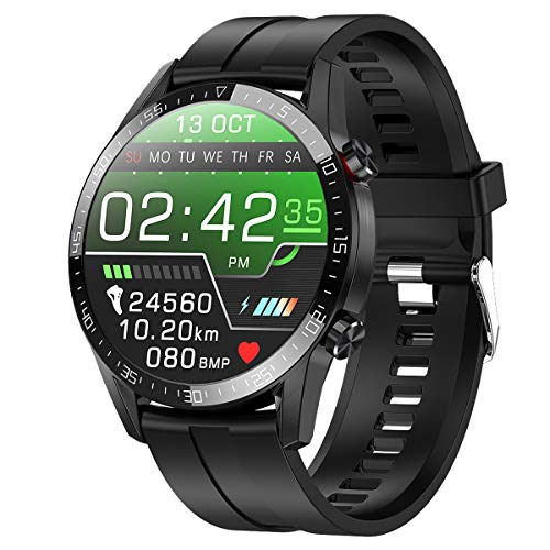 Smartwatch,Fitness Watch Uhr Voller Touch Screen Fitness Uhr IP68 Wasserdicht Fitness Tracker Sportuhr mit Schrittzähler Pulsuhren Stoppuhr für Damen Herren Smart Watch Android Handy(schwarz)