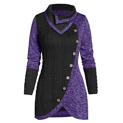 NOBRAND - Suéter de manga larga para mujer, talla grande, 5 XL, con botones asimétricos, para invierno, para mujer