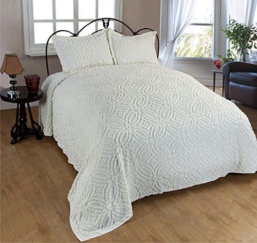 Beatrice Home Fashions Wedding Ring Chenille Bedspread, King, Ivory