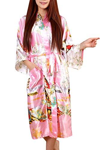 Dolamen dames ochtendjas Kimono, glad satijn nachtkleding badjas robe met Geisha en bloem kimono negligé zijderobe losjes slaappak, lange stijl & 2017