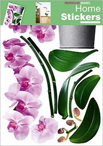 1art1 Blumen - Orchidee In Pink Wand-Tattoo | Deko Wandaufkleber für Wohnzimmer Kinderzimmer Küche Bad Flur | Wandsticker für Tür Wand Möbel/Schrank 70 x 50 cm