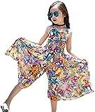 EGELEXY Bohemian Style Kid Girl Summer Chiffon Beach Skirt Pants Jumpsuit Floral Dress 4-5 Years/120