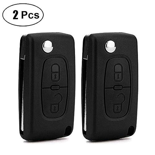 DaoRier 2 botones Carcasa para llave plegables llaves en blanco auto Mandos a distancia inalámbrico llave