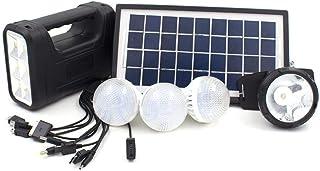 نظام طاقة شمسية متنقل  يحتوي كشاف و 3 لمبات مع شاحن جوالات وكشاف رأس