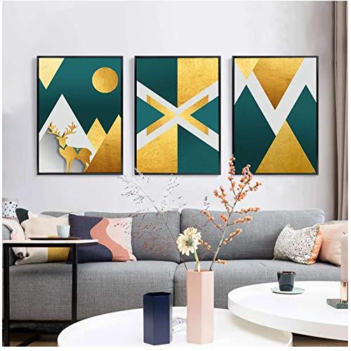 Póster Abstracto de montaña, Ciervo Dorado, Pintura en Lienzo, Cuadros de Arte de Pared geométricos para Sala de Estar, Decorativos para el hogar, 7.8x11.8in (20x30cm) x3psc SIN Marco