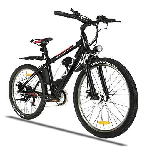 Wince E Bike Herren 350W Ebike Mountainbike 26 Zoll Elektrofahrrad für Erwachsene mit Abnehmbarer 36V/8Ah Batterie Shimano 21-Gang-Elektrofahrrad 3 Arbeitsmodi (Schwarz)
