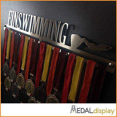 MEDALdisplay FINSWIMMING | Porta medaglie Nuoto Pinnato/Medagliere da Parete Medal Hanger (450 mm x 80 mm x 3 mm)