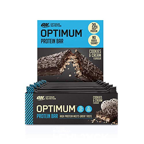 Optimum Nutrition Protein Bar with Whey Protein Isolate, Low Carb High Protein Snacks with No Added Sugar, Cookies and Cream, 10 Bar (10 x 62 g)