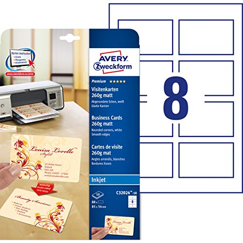 Avery - C32024-10 - 80 cartes de visite à bords lisses coins arrondis aspect mat 260 g/m² pour imprimantes jet d'encre - 85 x 54 mm