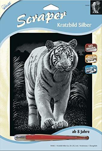 MAMMUT 136040 - Kratzbild, Motiv Tiger, silber, glänzend, Komplettset mit Kratzmesser und Übungsblatt, Scraper, Scratch, Kritzel, Kratzset für Kinder ab 8 Jahre