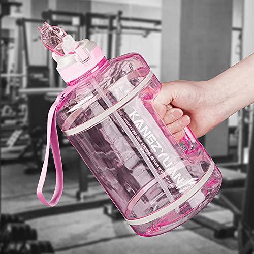 Botella de agua de 3,78 l con pajita para gimnasio, sin BPA, a prueba de fugas, reutilizable, grande, duradera, 3,78 litros, resistente al calor, con asa, portátil