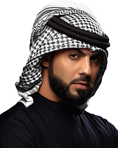 HOMELEX Arab Kafiya Keffiyeh Middle Eastern Scarf Wrap with Aqel Rope (Black&White)