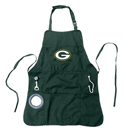 Team Sports America NFL Green Bay Packers Ultimate Grilling Apron Durable Cotton with Beverage Opener and Multi Tool For Football Fans Fathers Day and More