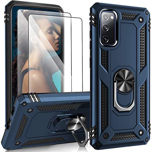 Hülle Kompatibel mit Samsung Galaxy S20 FE Hülle mit 2 Panzerglas Schutzfolie, Anti-Scratch Handyhülle Galaxy S20 FE Hülle Cover Case, Stoßfestes Anti-Drop Schutzhülle