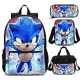XINKONG Sonic mochila de tres piezas erizo Sonic Kindergarten niños mochila linda mochila al aire libre almuerzo bolsa de almuerzo bolsa mensajero 16 pulgadas