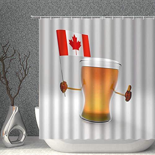 Mu Mianhua Cortinas de ducha Bandera de Canadá con decoración de cerveza Cortina de ducha Bebidas tropicales Copa de vino Diseño divertido Diseño Rojo Naranja Tela Poliéster Cortinas de baño con ganch