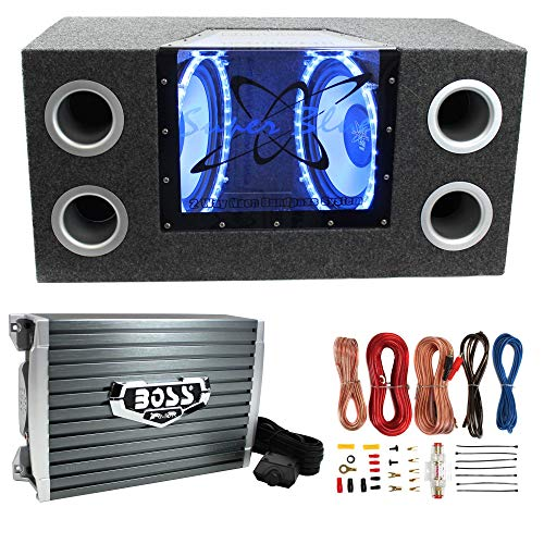 """Pyramid BNPS122 12"""" 1200W Car Audio Speakers with Neon Accent Lighting and 4 OHM Impedance, Subwoofer Box, 1500W Mono Amplifier, & Amp Kit"""