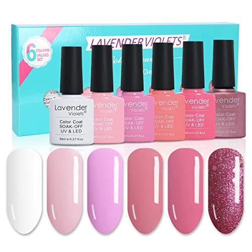 Lavender Violets 6 Colours Gel Nail Polish Set UV LED Soak Off Gel Varnish Kit 8ml - Pink Lady Combo DC06
