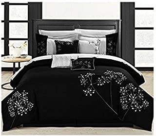 Chic Home 8 Piece Pink Floral Comforter Set, Queen, Black/White