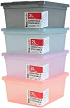 36 x COLOUR PLASTIC STORAGE BOX WITH LID 2L Stackable Home Boxes Bins Tubs Tote Home Organisation Plastic Storage Containe...