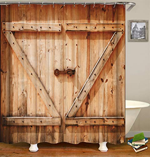ZZZdz houten deur ijzeren grendel. Huisdecoratie. Douchegordijn. 180 x 180 cm. 12 vrije haken. 3D Hd-druk. Rijke patronen.