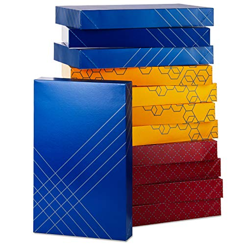 Hallmark (12 Ct: 4 Each of Color) for Christmas, Hanukkah, Valentine's Day, Birthdays Designed Shirt Boxes with Lids, Red, Blue, Yellow, Geometric Patterns