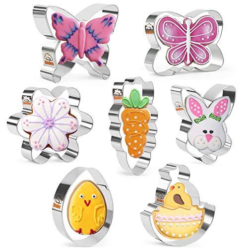 Iindes Ostern Ausstechform Set - 7 Stück -Kaninchenkopf, Ei, Blume, Karotte, Küken aus der Muschel, Schmetterling - Rostfreier Stahl
