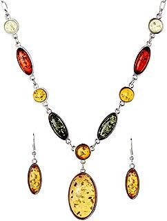 Jewelry Sets Tibetan Silver Pendant Necklace Water Drop Earrings Set Jewellery for Women,Colour:Orange (Color : Orange)