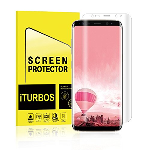 Galaxy S8 Screen Protector [2-Pack], iTURBOS [Newest Version] [Bubble Free] Full Screen Coverage 3D PET HD Screen Protector Film for Samsung Galaxy S8.