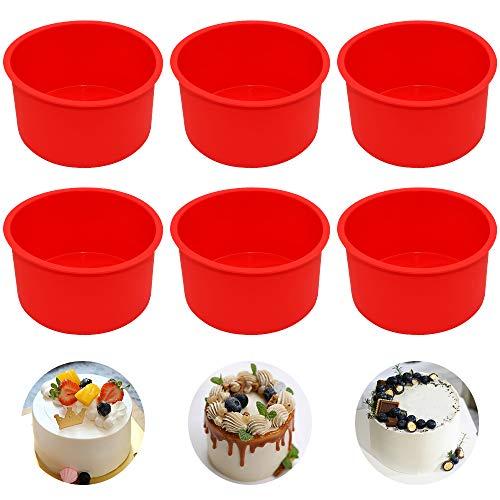 Silicone Cake Mold Baking Pan Round 4 Inch Non-Stick Bakeware Pan Reusable Cake Pan, Red, Set of 6