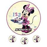 Tortenaufleger Geburtstag Tortenbild Zuckerbild Oblate Motiv: Disney Minnie Maus 12 (Oblatenpapier)