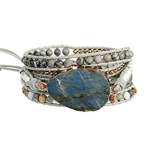 Plumiss Handmade Labradorite Stone Beaded Leather 5X Wrap Bracelets