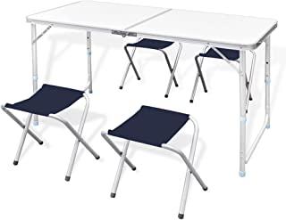 vidaXL Set mesita Altura Ajustable 4 taburetes 120 x 60 cm, Aventura, Los Mejores Precios