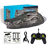 Flytec V005 RC Boat, 2.4G Remote Control Electric Racing Boat for Pools with Simulation Crocodile Head Spoof Toy, Funny Water Racing Alligator Electric Toys (from US, Green)