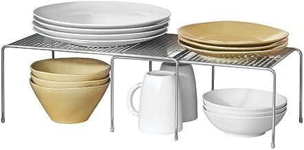 mDesign Porta piatti e Porta stoviglie allungabile - Scaffale cucina salvaspazio - Ideale per ottimizzare gli spazi e sfruttare ogni centimetro – argento