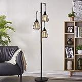 ZMH Lámpara de pie lámpara de pie vintage de 3 llamas en diseño industrial, lámpara de pie retro de hierro, lámpara de pie de metal retro, portalámparas E27 max 40W, altura: 163 cm, color antiguo