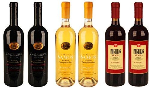 Kourtaki 2x Nemea 2x Mavrodaphne 2x Samos Weinpaket Griechenland, 6 Flaschen á 0,75l
