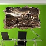 Autoadesivo della parete della bici della sporcizia di salto della corsa di motocross 3D art poster decalcomania decorazione murale/arte murale in vinile