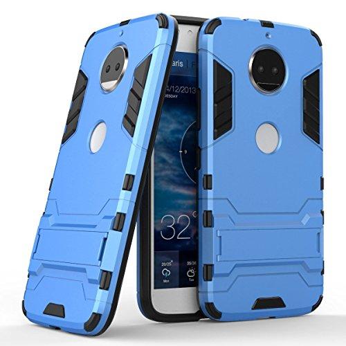 MaiJin Hülle für Motorola Moto G5s Plus (5,5 Zoll) 2 in 1 Hybrid Dual Layer Shell Armor Schutzhülle mit Standfunktion Case (Blau)
