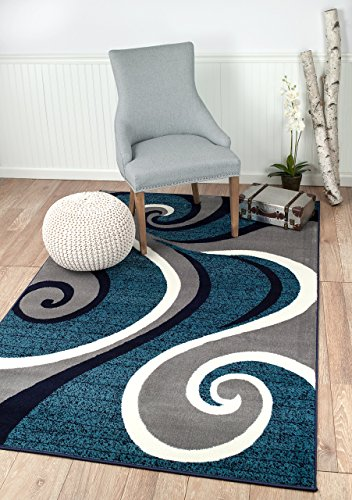 Summit New 32 Swirl Blue Navy White Light Gray Area Rug Abstract Carpet Sizes Available , 8 X 11 ACTAUL IS 7'.4'' X 10'.6 '' 10' Rug No Fringe