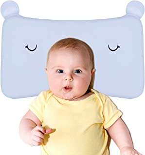 Baby Pillow, IKRR Toddler Soft Breathable Memory Foam Pillow-Anti Flat Head Syndrome (Plagiocephaly) for 6-24 Months Kids Sleeping (Blue)