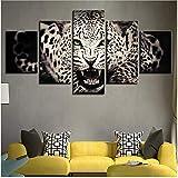 Toile Photos Mur Art Décor À La Maison 5 Pièces Féroce Vert Eyed Leopard Peinture...