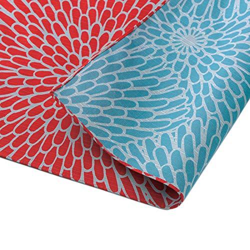 Furoshiki Tela tradicional japonesa – Paño de envolver – Extra grande 103,9 x 103,9 cm, 100% algodón, hecho en Japón Honjien Reversible Isa Monyo Patrón Clásico [Crisantemo Rojo/Salva]